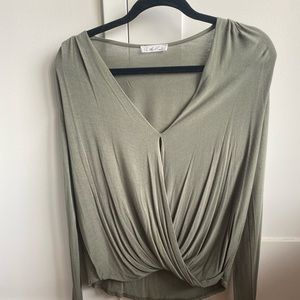 Anthropologie (On the Road) Olive Twist Front Top